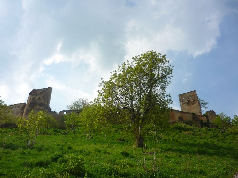the ruins of old fortress on the hill from Saschiz