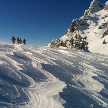 Hiking in the snowy Ciucaș Mountains