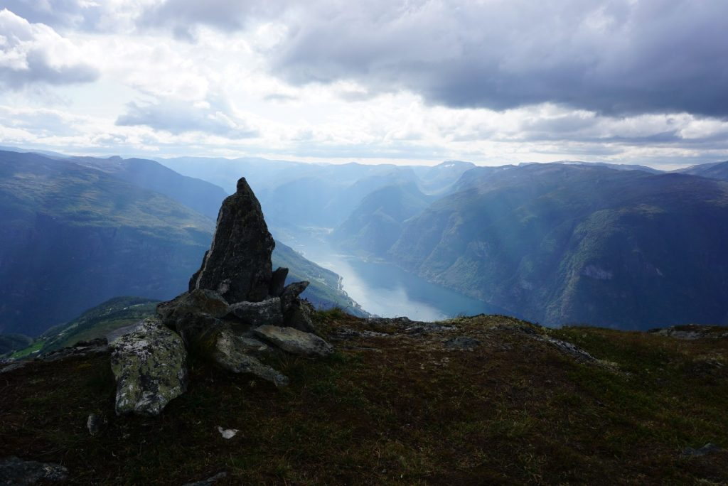 view of Aurlandsfjord with rocks