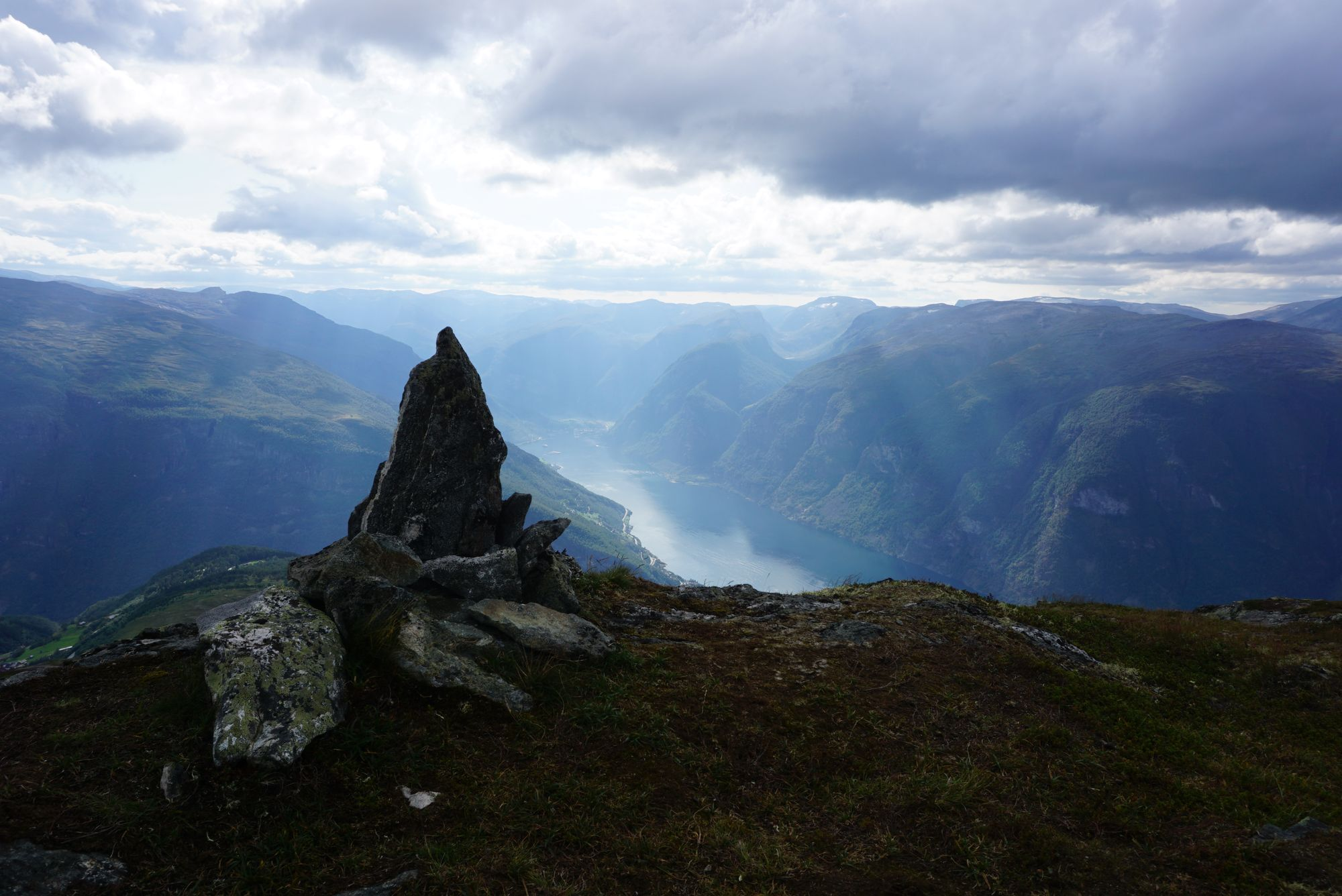 Aurlandsfjord view from the way down with rocks