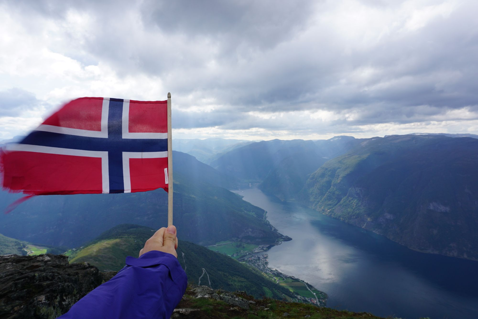 View from Prest with flag